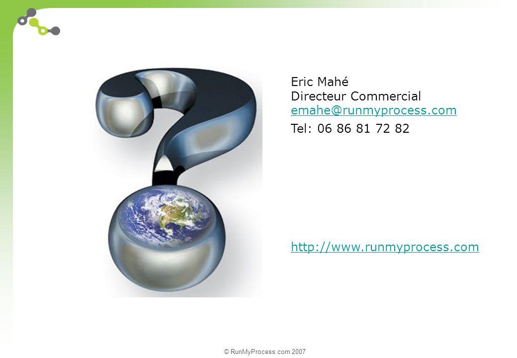 © RunMyProcess.com 2007 Eric Mahé Directeur Commercial emahe@runmyprocess.com Tel: 06 86 81 72 82 http://www.runmyprocess.com
