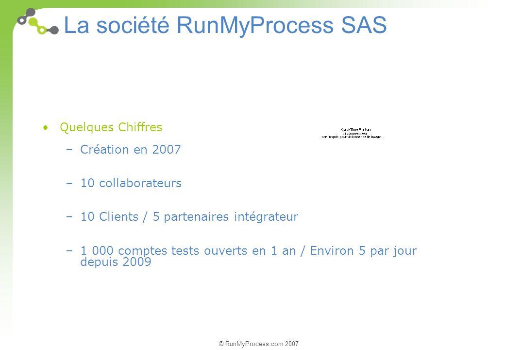 © RunMyProcess.com 2007 La société RunMyProcess SAS Quelques Chiffres –Création en 2007 –10 collaborateurs –10 Clients / 5 partenaires intégrateur –1