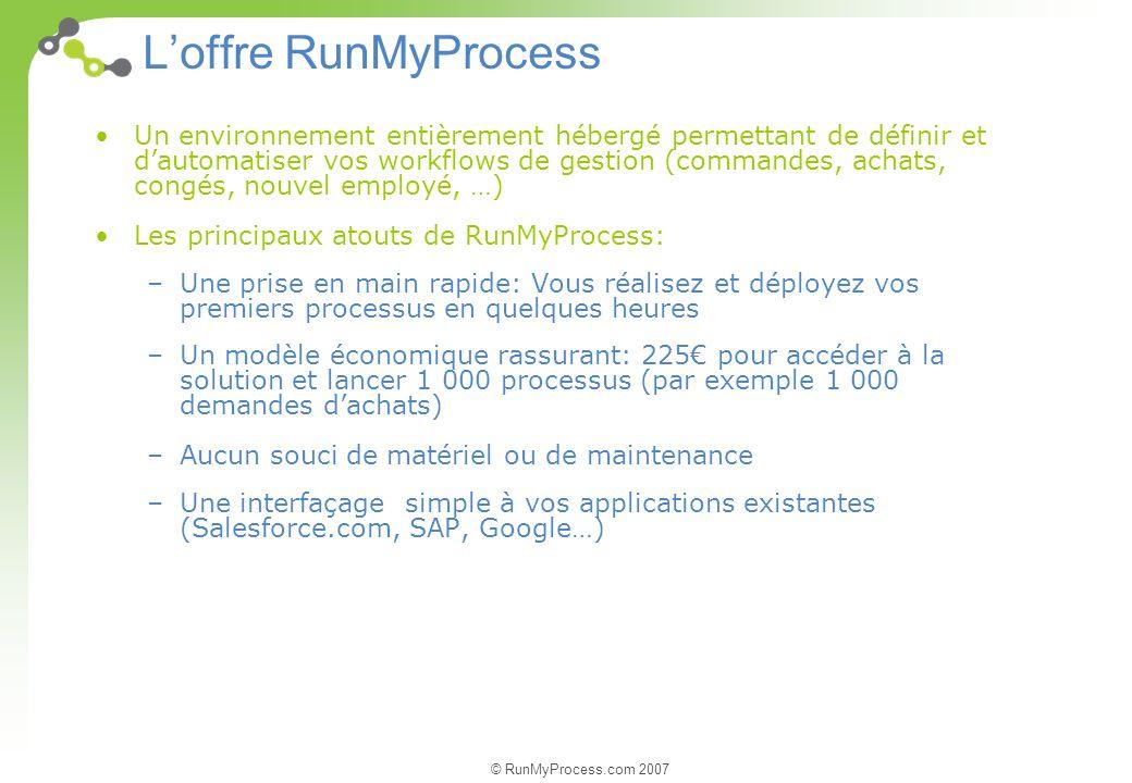 © RunMyProcess.com 2007 Un environnement entièrement hébergé permettant de définir et dautomatiser vos workflows de gestion (commandes, achats, congés