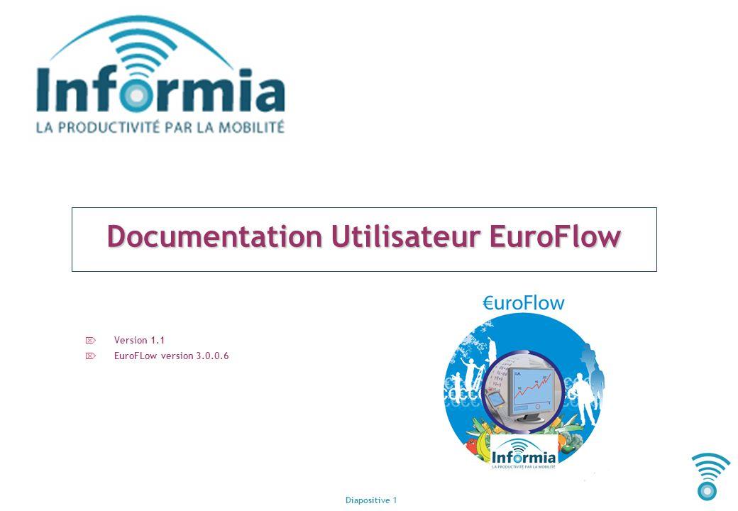 Diapositive 1 Documentation Utilisateur EuroFlow Version 1.1 EuroFLow version 3.0.0.6