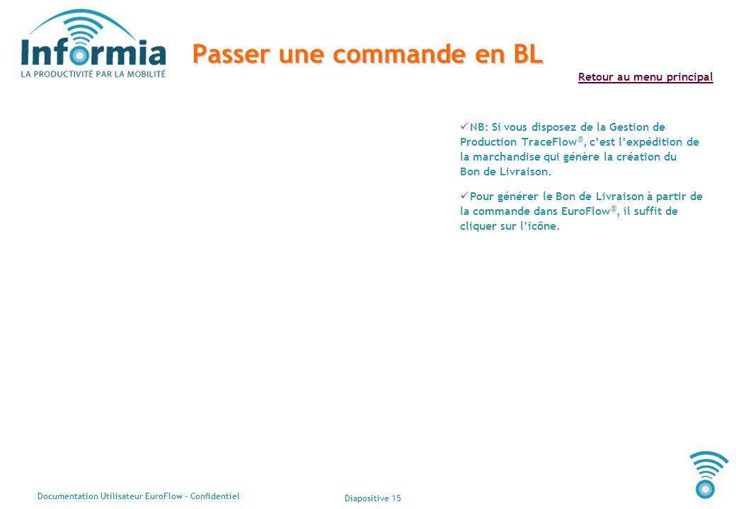 Diapositive 15 Documentation Utilisateur EuroFlow - Confidentiel Retour au menu principal Passer une commande en BL NB: Si vous disposez de la Gestion