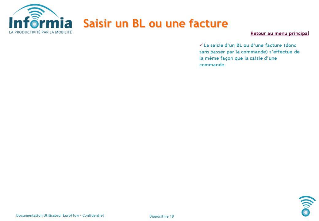 Diapositive 18 Documentation Utilisateur EuroFlow - Confidentiel Retour au menu principal Saisir un BL ou une facture La saisie dun BL ou dune facture