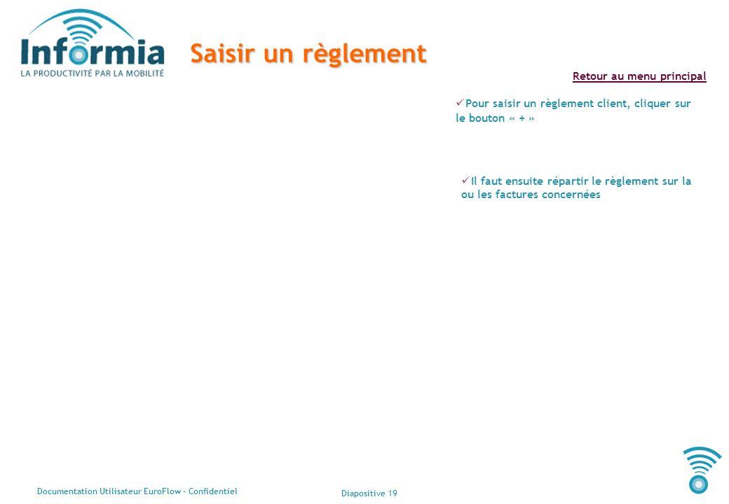 Diapositive 19 Documentation Utilisateur EuroFlow - Confidentiel Retour au menu principal Saisir un règlement Pour saisir un règlement client, cliquer