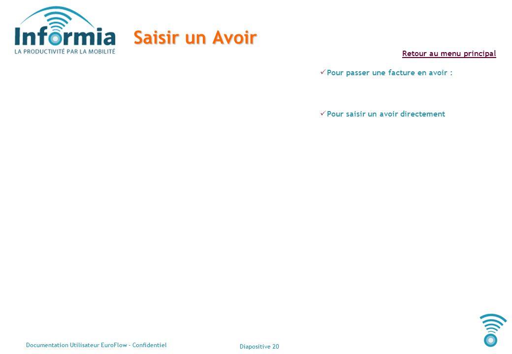 Diapositive 20 Documentation Utilisateur EuroFlow - Confidentiel Retour au menu principal Saisir un Avoir Pour passer une facture en avoir : Pour sais