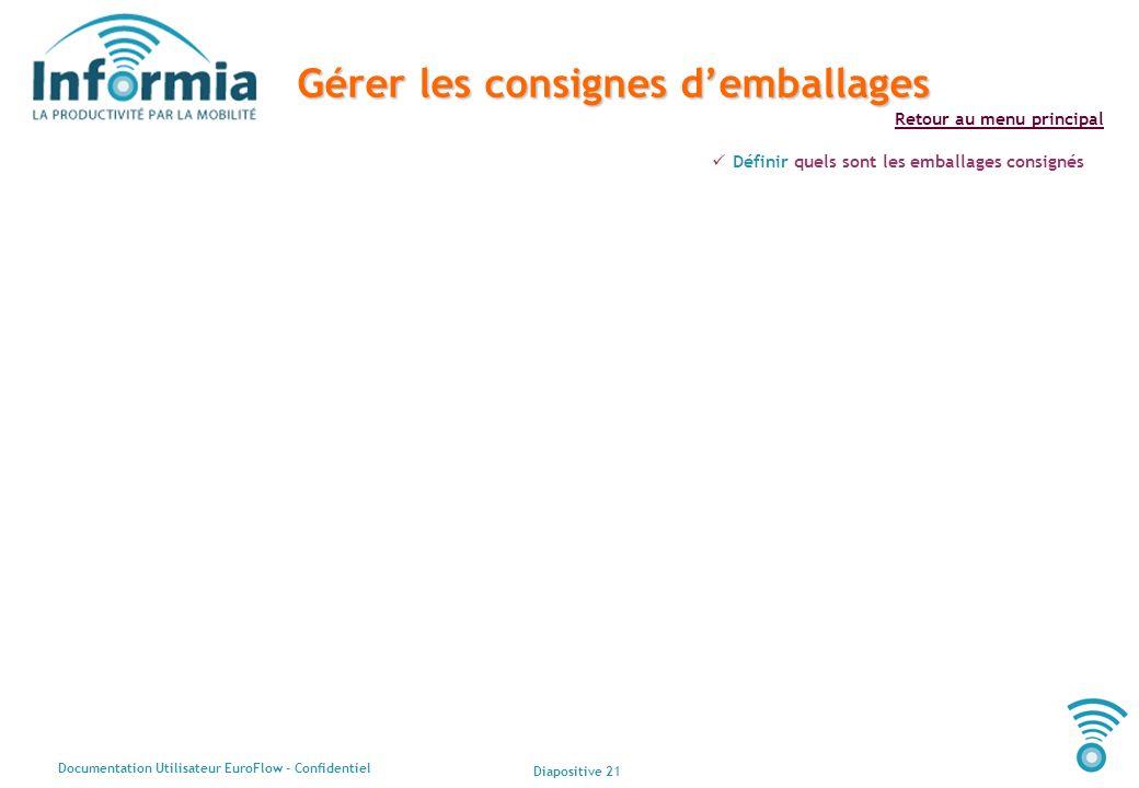 Diapositive 21 Documentation Utilisateur EuroFlow - Confidentiel Retour au menu principal Gérer les consignes demballages Définir quels sont les embal