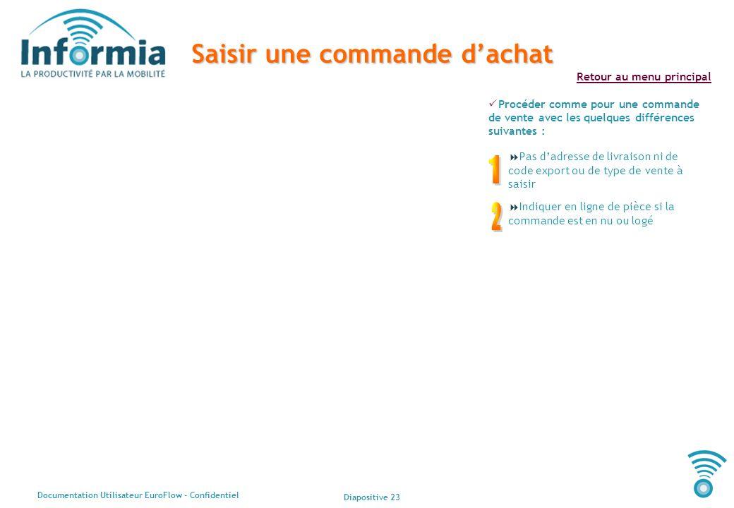 Diapositive 23 Documentation Utilisateur EuroFlow - Confidentiel Retour au menu principal Saisir une commande dachat Procéder comme pour une commande