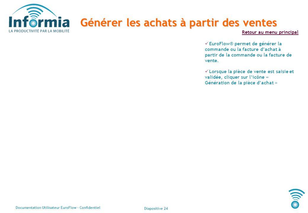Diapositive 24 Documentation Utilisateur EuroFlow - Confidentiel Retour au menu principal Générer les achats à partir des ventes EuroFlow® permet de g