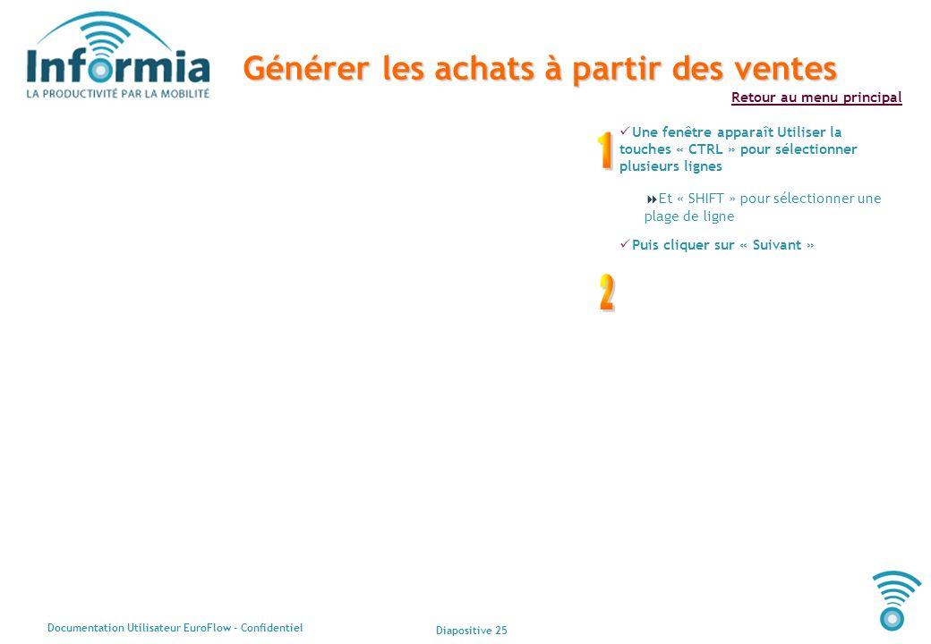 Diapositive 25 Documentation Utilisateur EuroFlow - Confidentiel Retour au menu principal Générer les achats à partir des ventes Une fenêtre apparaît