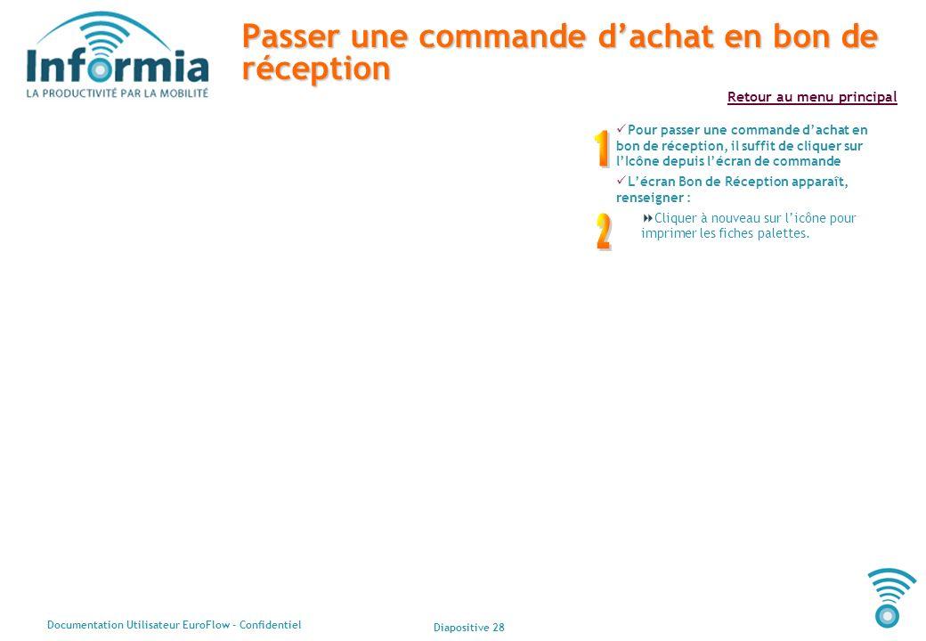 Diapositive 28 Documentation Utilisateur EuroFlow - Confidentiel Retour au menu principal Passer une commande dachat en bon de réception Pour passer u