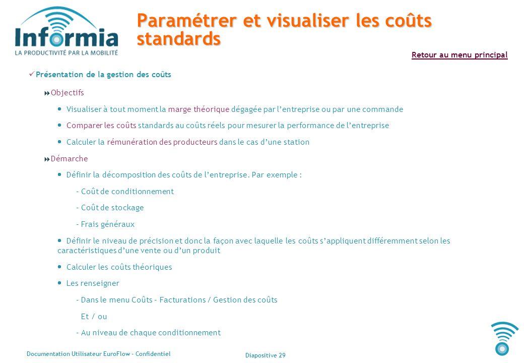 Diapositive 29 Documentation Utilisateur EuroFlow - Confidentiel Retour au menu principal Paramétrer et visualiser les coûts standards Présentation de