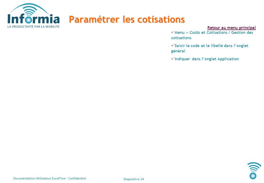 Diapositive 34 Documentation Utilisateur EuroFlow - Confidentiel Retour au menu principal Paramétrer les cotisations Menu « Coûts et Cotisations / Ges