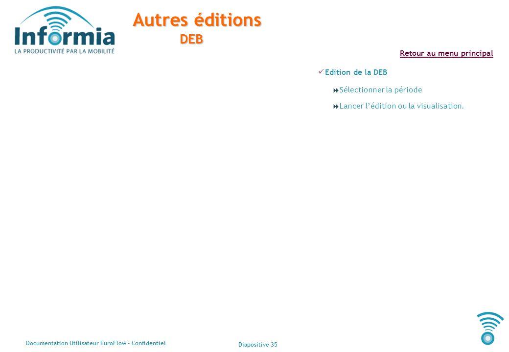 Diapositive 35 Documentation Utilisateur EuroFlow - Confidentiel Retour au menu principal Autres éditions DEB Edition de la DEB Sélectionner la périod