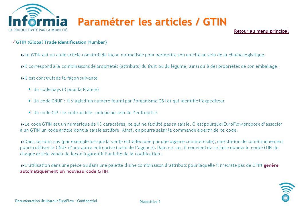 Diapositive 5 Documentation Utilisateur EuroFlow - Confidentiel Retour au menu principal Paramétrer les articles / GTIN GTIN (Global Trade Identificat