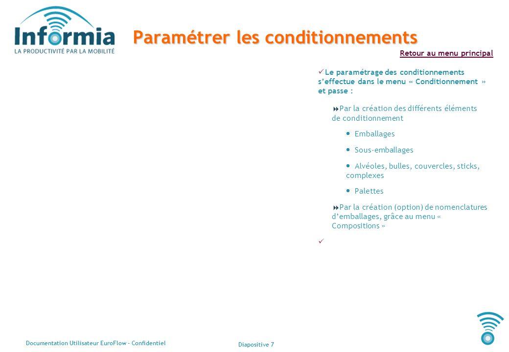 Diapositive 7 Documentation Utilisateur EuroFlow - Confidentiel Retour au menu principal Paramétrer les conditionnements Le paramétrage des conditionn