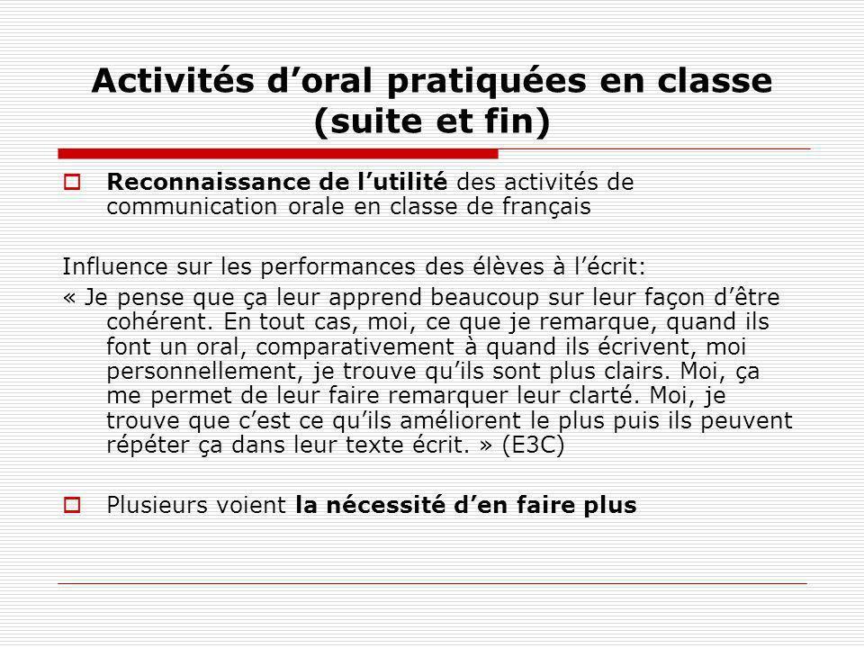 Activités doral pratiquées en classe (suite et fin) Reconnaissance de lutilité des activités de communication orale en classe de français Influence su