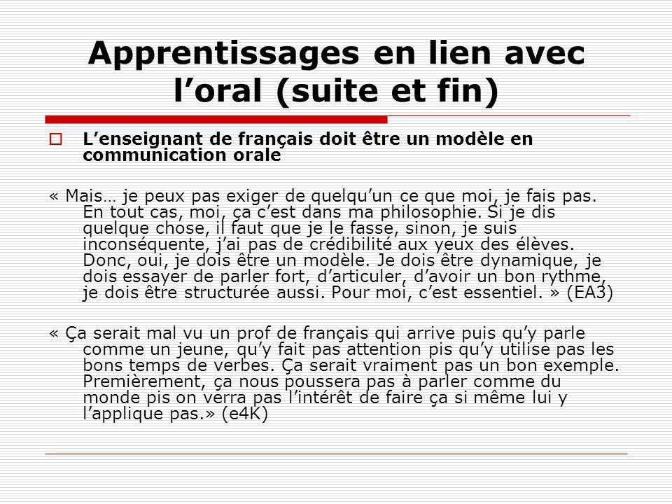 Apprentissages en lien avec loral (suite et fin) Lenseignant de français doit être un modèle en communication orale « Mais… je peux pas exiger de quel