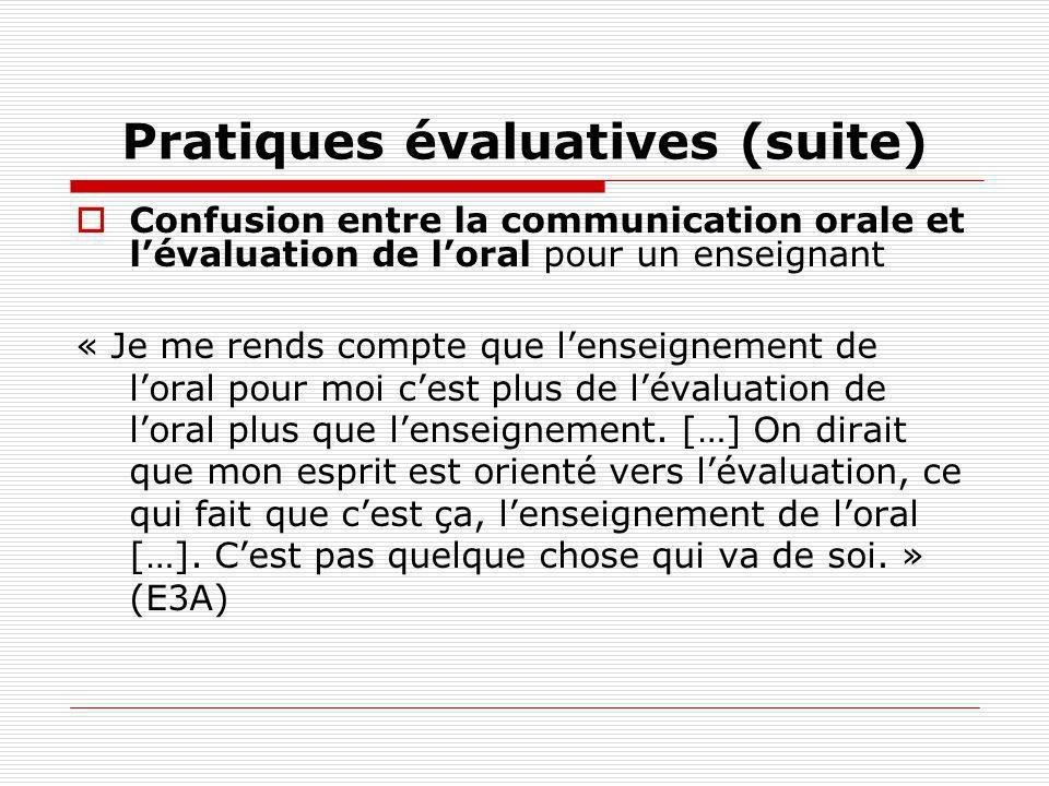 Pratiques évaluatives (suite) Confusion entre la communication orale et lévaluation de loral pour un enseignant « Je me rends compte que lenseignement