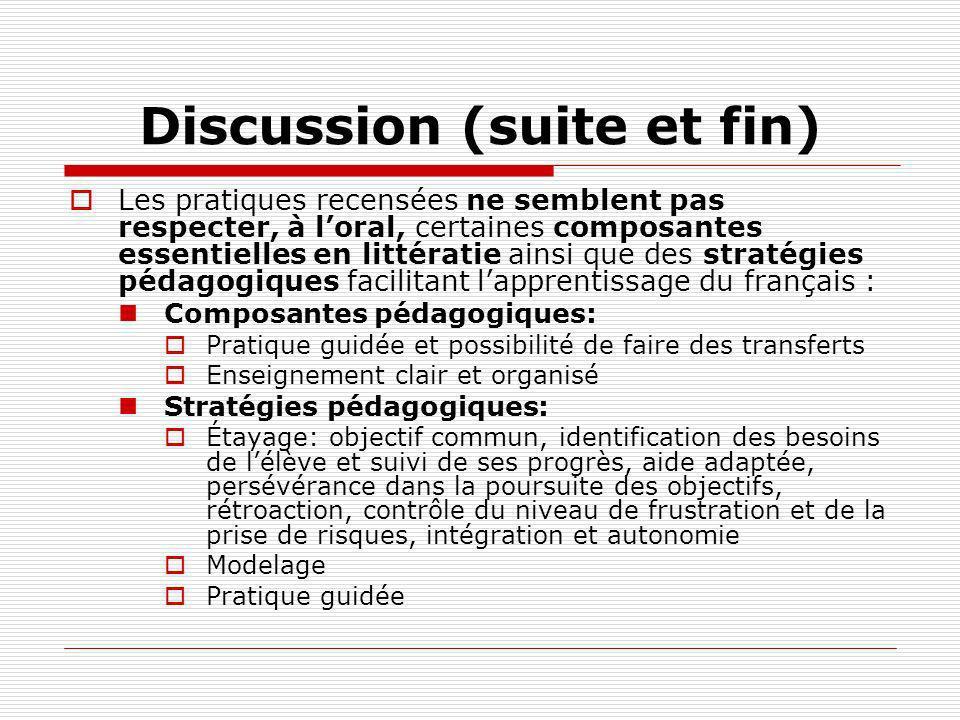 Discussion (suite et fin) Les pratiques recensées ne semblent pas respecter, à loral, certaines composantes essentielles en littératie ainsi que des s