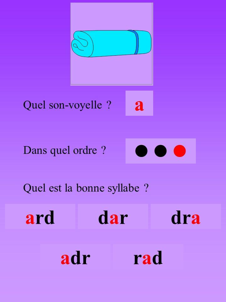 drap3 Quel son-voyelle ? a Dans quel ordre ?