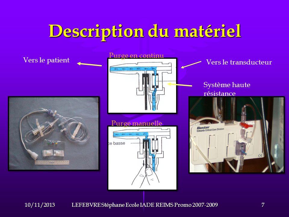 Description du matériel Pour obtenir la fréquence propre du système la plus élevée possible, il faut que le volume de liquide quil contient soit le plus faible possible et que sa compliance soit très basse.