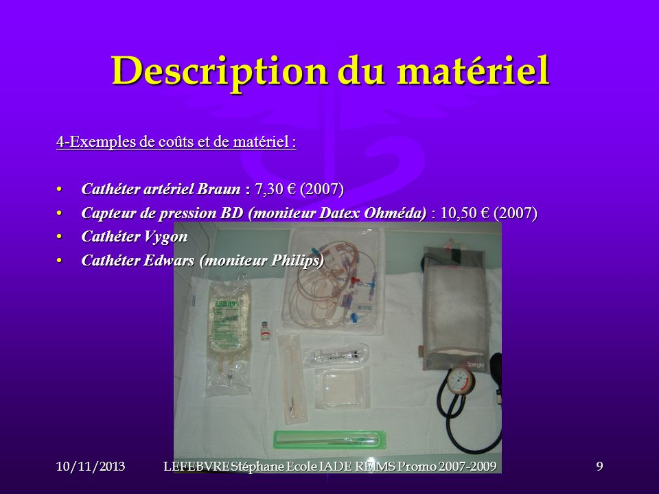 Description du matériel 5- Qualité des mesures et choix du matériel: La mesure de la pression artérielle seffectue grâce à un capteur qui est composé dune chambre de mesure reliée au cathéter artériel par une tubulure et des robinets à trois voies.