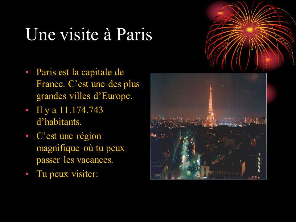 Une visite à Paris Paris est la capitale de France. Cest une des plus grandes villes dEurope. Il y a 11.174.743 dhabitants. Cest une région magnifique