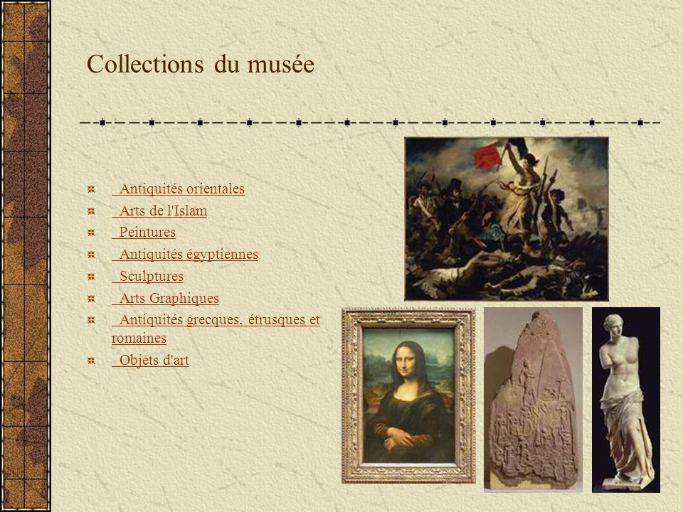 Les musées : Le Louvre Depuis la fin du XIIe siècle, les bâtiments du Louvre dominent le coeur de Paris ; situés aux limites de la ville, ils ont été peu à peu rattrapés par elle puis englobés en son centre.