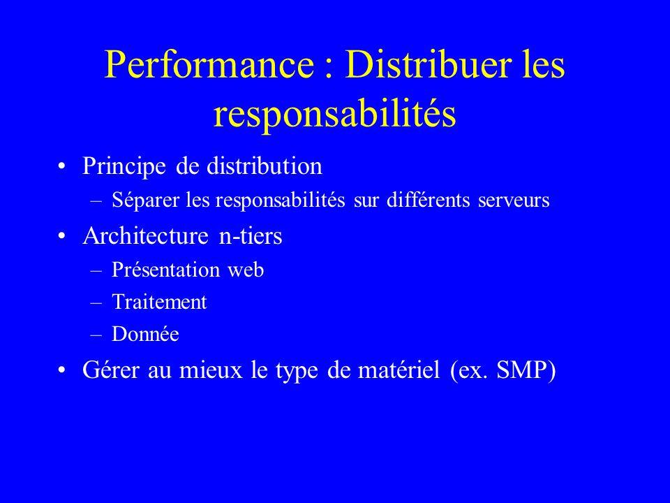 Performance : Distribuer les responsabilités Principe de distribution –Séparer les responsabilités sur différents serveurs Architecture n-tiers –Présentation web –Traitement –Donnée Gérer au mieux le type de matériel (ex.