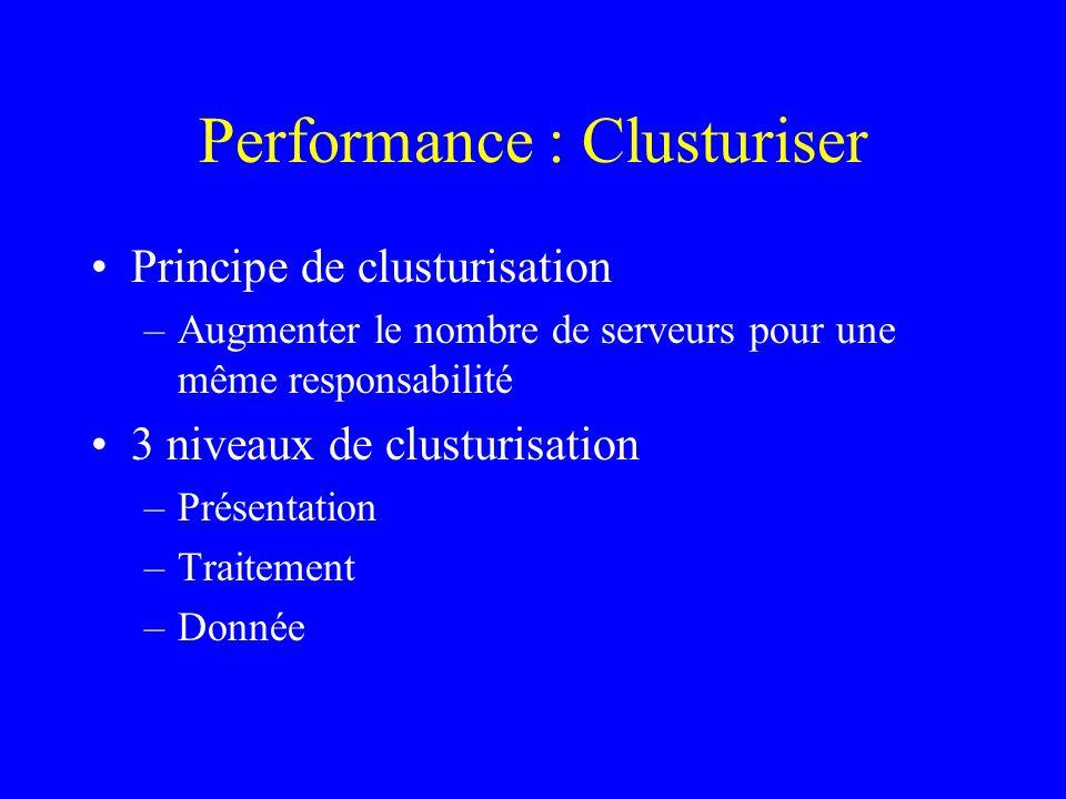 Performance : Clusturiser Principe de clusturisation –Augmenter le nombre de serveurs pour une même responsabilité 3 niveaux de clusturisation –Présentation –Traitement –Donnée