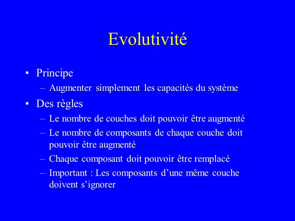 Evolutivité Principe –Augmenter simplement les capacités du système Des règles –Le nombre de couches doit pouvoir être augmenté –Le nombre de composants de chaque couche doit pouvoir être augmenté –Chaque composant doit pouvoir être remplacé –Important : Les composants dune même couche doivent signorer