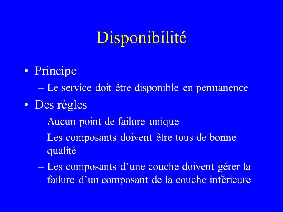 Disponibilité Principe –Le service doit être disponible en permanence Des règles –Aucun point de failure unique –Les composants doivent être tous de b