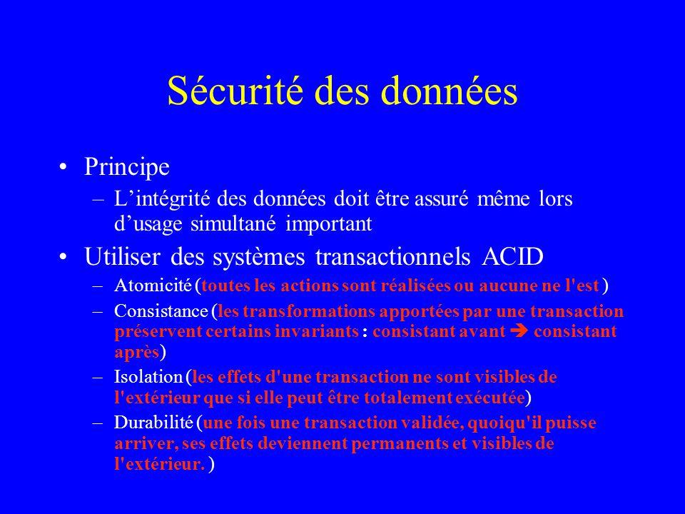 Sécurité des données Principe –Lintégrité des données doit être assuré même lors dusage simultané important Utiliser des systèmes transactionnels ACID
