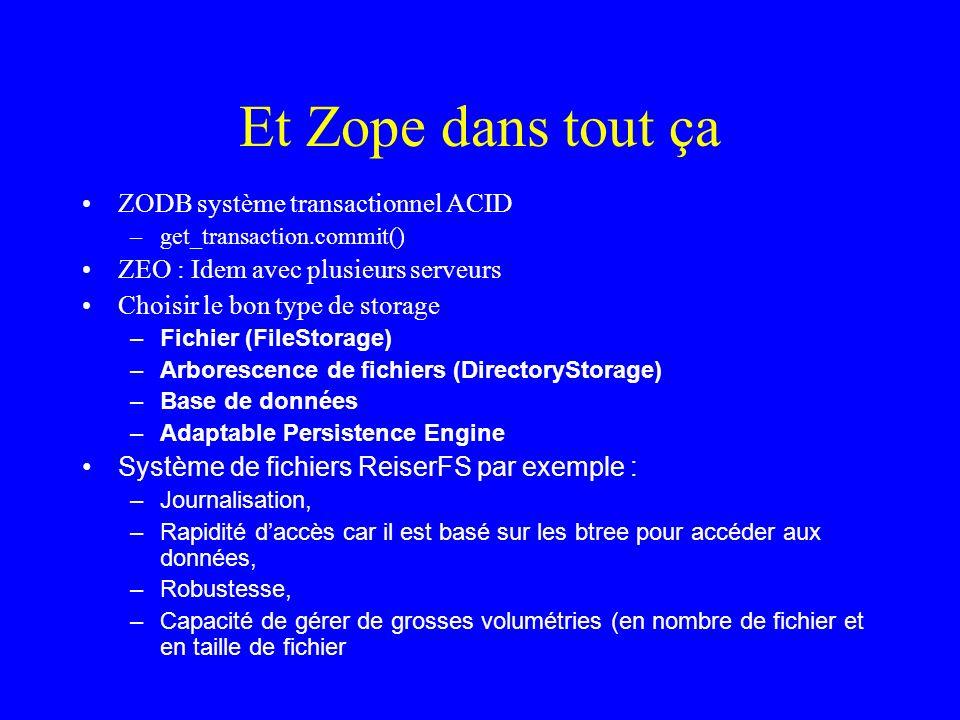 Et Zope dans tout ça ZODB système transactionnel ACID –get_transaction.commit() ZEO : Idem avec plusieurs serveurs Choisir le bon type de storage – Fichier (FileStorage) – Arborescence de fichiers (DirectoryStorage) – Base de données – Adaptable Persistence Engine Système de fichiers ReiserFS par exemple : – Journalisation, – Rapidité daccès car il est basé sur les btree pour accéder aux données, – Robustesse, – Capacité de gérer de grosses volumétries (en nombre de fichier et en taille de fichier