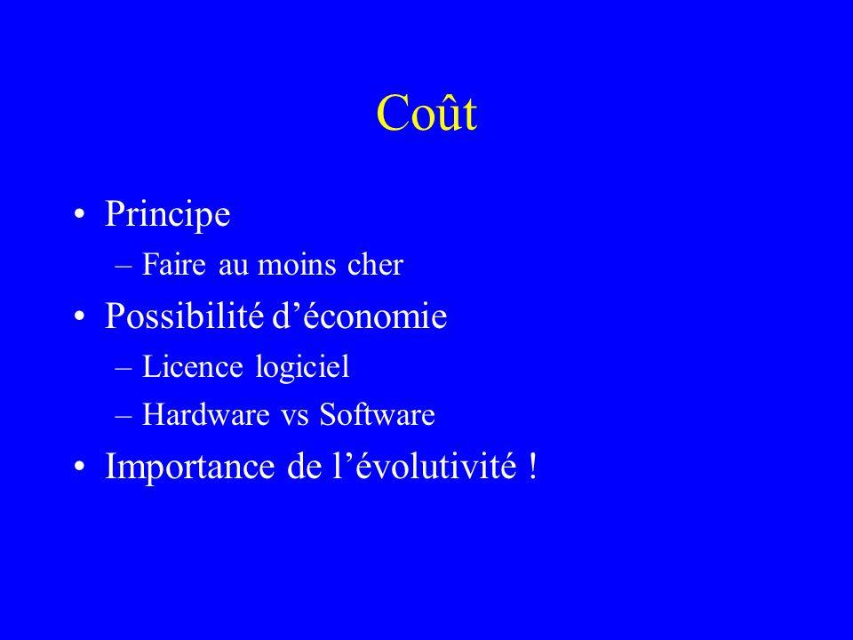 Coût Principe –Faire au moins cher Possibilité déconomie –Licence logiciel –Hardware vs Software Importance de lévolutivité !