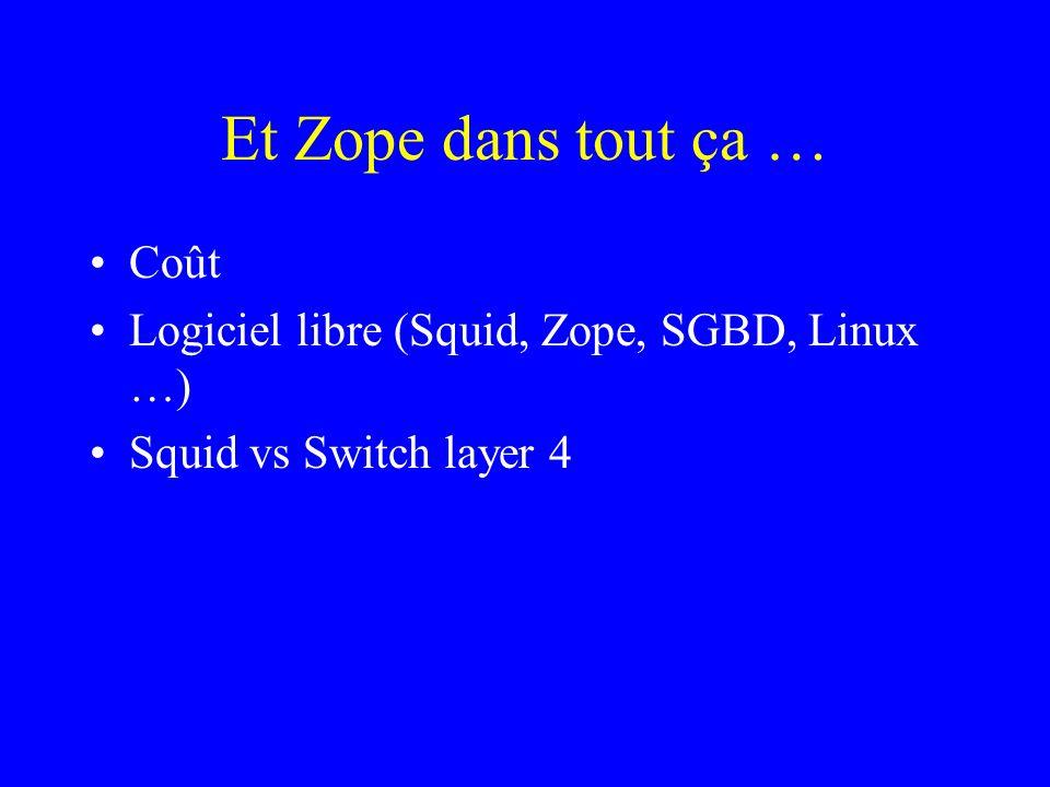 Et Zope dans tout ça … Coût Logiciel libre (Squid, Zope, SGBD, Linux …) Squid vs Switch layer 4