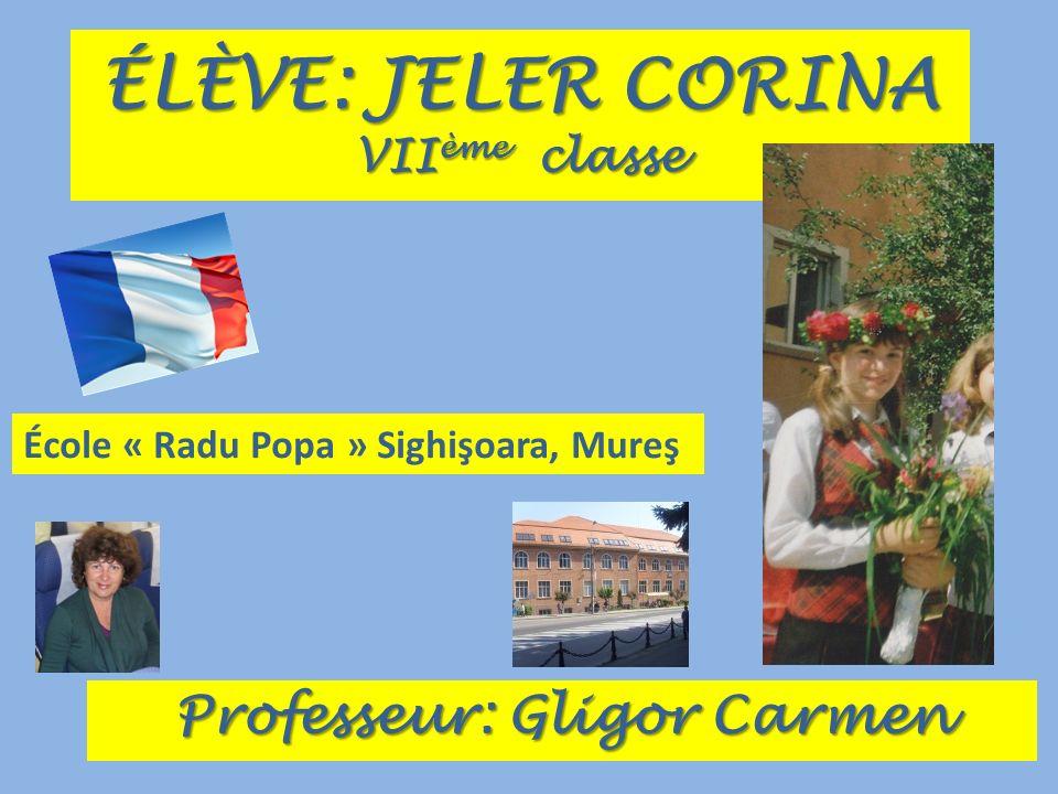 ÉLÈVE: JELER CORINA VII ème classe Professeur: Gligor Carmen École « Radu Popa » Sighişoara, Mureş