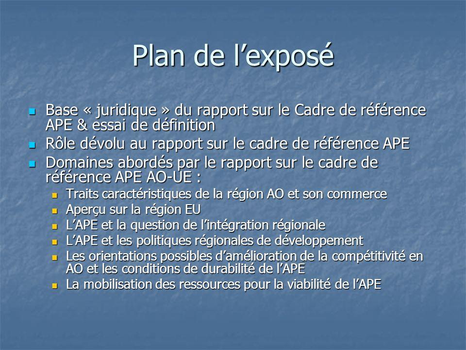 Essai de définitions Rapport sur le cadre de référence de lAPE Rapport sur le cadre de référence de lAPE Document conjoint à travers lequel sont transcrits les objectifs globaux et contenu de lAPE, dans le cadre établi par lAccord de Cotonou.