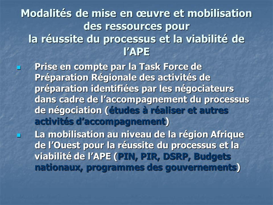 Modalités de mise en œuvre et mobilisation des ressources pour la réussite du processus et la viabilité de lAPE Prise en compte par la Task Force de P
