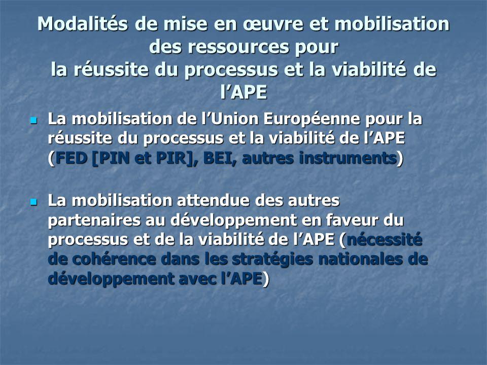 Modalités de mise en œuvre et mobilisation des ressources pour la réussite du processus et la viabilité de lAPE La mobilisation de lUnion Européenne pour la réussite du processus et la viabilité de lAPE (FED [PIN et PIR], BEI, autres instruments) La mobilisation de lUnion Européenne pour la réussite du processus et la viabilité de lAPE (FED [PIN et PIR], BEI, autres instruments) La mobilisation attendue des autres partenaires au développement en faveur du processus et de la viabilité de lAPE (nécessité de cohérence dans les stratégies nationales de développement avec lAPE) La mobilisation attendue des autres partenaires au développement en faveur du processus et de la viabilité de lAPE (nécessité de cohérence dans les stratégies nationales de développement avec lAPE)