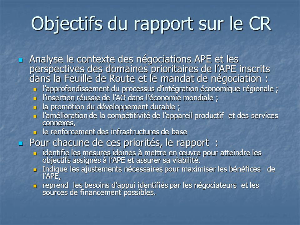 Domaines abordés par le rapport sur le CR Il sagit des bases du partenariat ACP-UE impliquant des droits et des obligations pour chaque partie Il sagit des bases du partenariat ACP-UE impliquant des droits et des obligations pour chaque partie Les domaines sont : Les domaines sont : lintégration régionale, comme moyen favorisant l accélération dune insertion harmonieuse des économies ACP à léconomie mondiale, lintégration régionale, comme moyen favorisant l accélération dune insertion harmonieuse des économies ACP à léconomie mondiale, louverture des marchés de la région ouest-africaine à lUE (caractéristique première de laccord de libre-échange) louverture des marchés de la région ouest-africaine à lUE (caractéristique première de laccord de libre-échange) le développement : cela signifie que les APE en tant quinstrument de développement, doivent contenir toute la flexibilité nécessaire pour faire face aux contraintes économiques et sociales liées : le développement : cela signifie que les APE en tant quinstrument de développement, doivent contenir toute la flexibilité nécessaire pour faire face aux contraintes économiques et sociales liées : dune part à la ZLE avec lUE dune part à la ZLE avec lUE dautre part aux mutations dans les relations commerciales international et à lenvironnement mondial, dautre part aux mutations dans les relations commerciales international et à lenvironnement mondial, la compatibilité avec lOMC (degré douverture compatible avec lobjectif de développement), mais également le tremplin pour lintégration harmonieuse au commerce mondial.