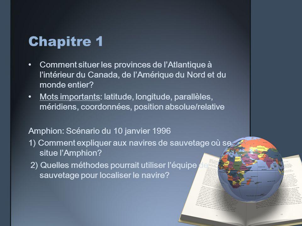 Chapitre 1 Comment situer les provinces de lAtlantique à lintérieur du Canada, de lAmérique du Nord et du monde entier? Mots importants: latitude, lon