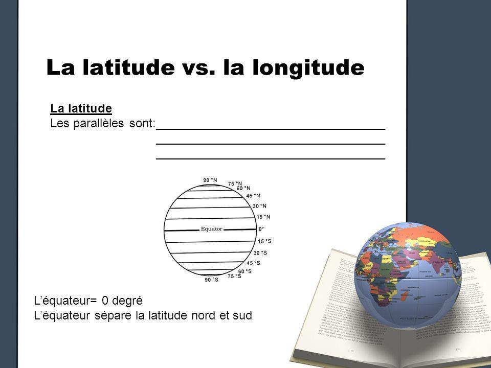 La latitude vs. la longitude La latitude Les parallèles sont:__________________________________ __________________________________ Léquateur= 0 degré