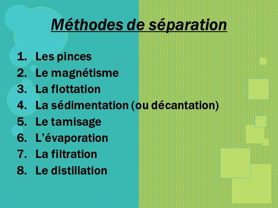 Méthodes de séparation 1.Les pinces 2.Le magnétisme 3.La flottation 4.La sédimentation (ou décantation) 5.Le tamisage 6.Lévaporation 7.La filtration 8