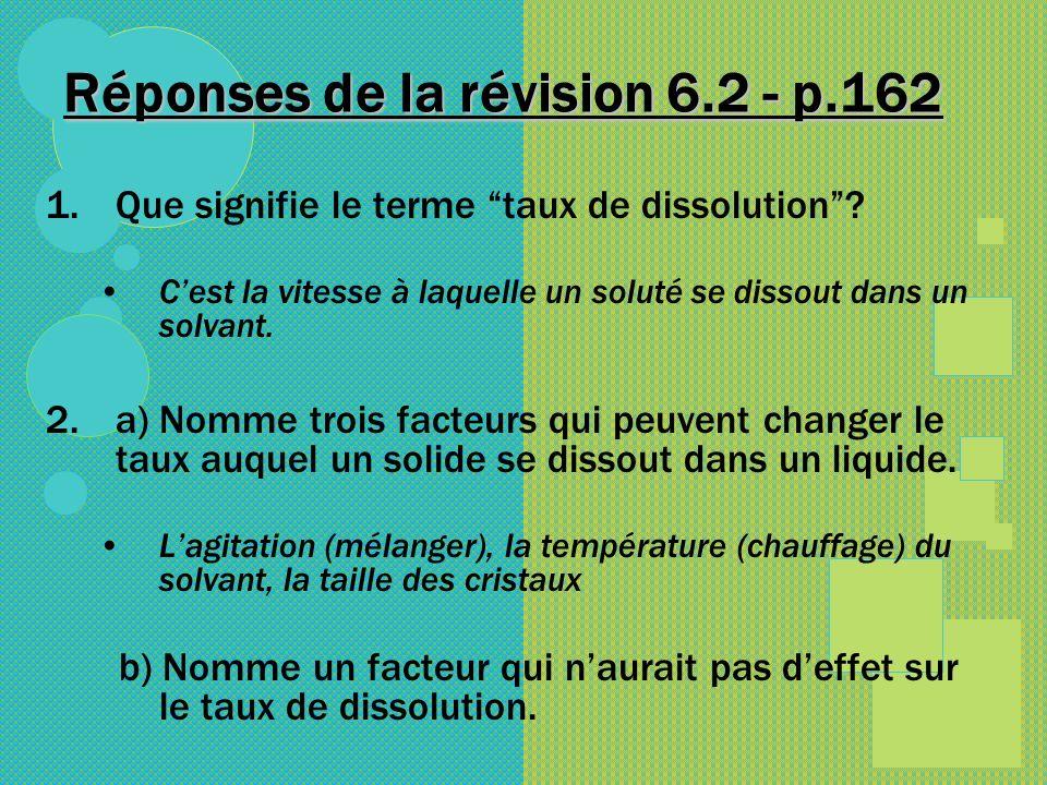 Réponses de la révision 6.2 - p.162 1.Que signifie le terme taux de dissolution? Cest la vitesse à laquelle un soluté se dissout dans un solvant. 2.a)