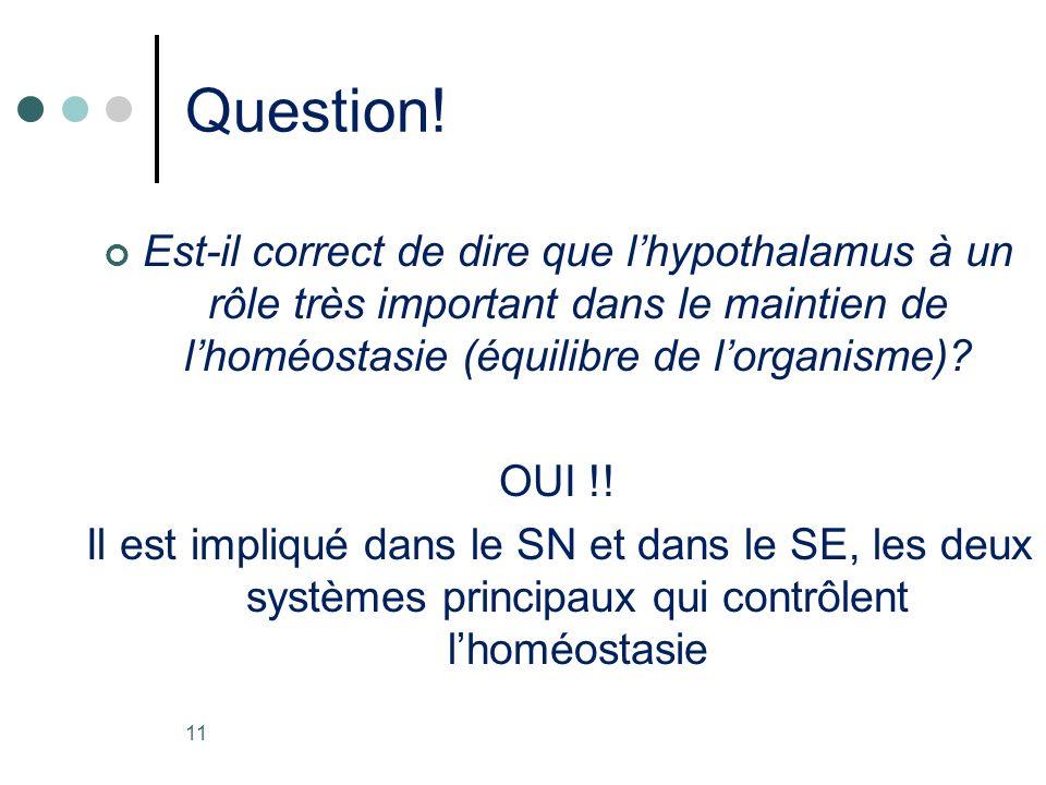 Question! Est-il correct de dire que lhypothalamus à un rôle très important dans le maintien de lhoméostasie (équilibre de lorganisme)? OUI !! Il est