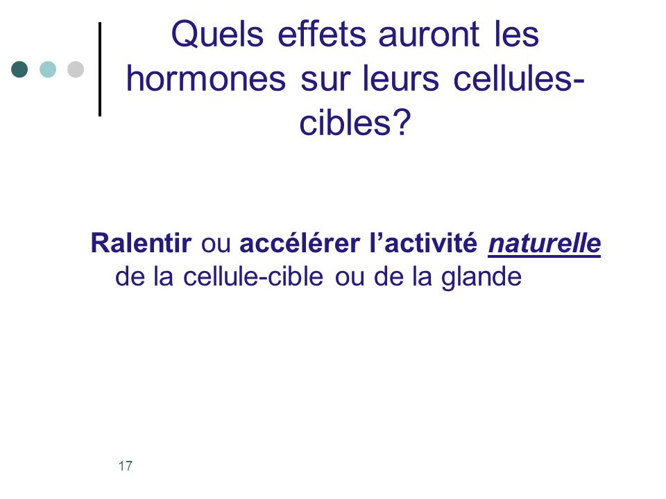 17 Quels effets auront les hormones sur leurs cellules- cibles? Ralentir ou accélérer lactivité naturelle de la cellule-cible ou de la glande