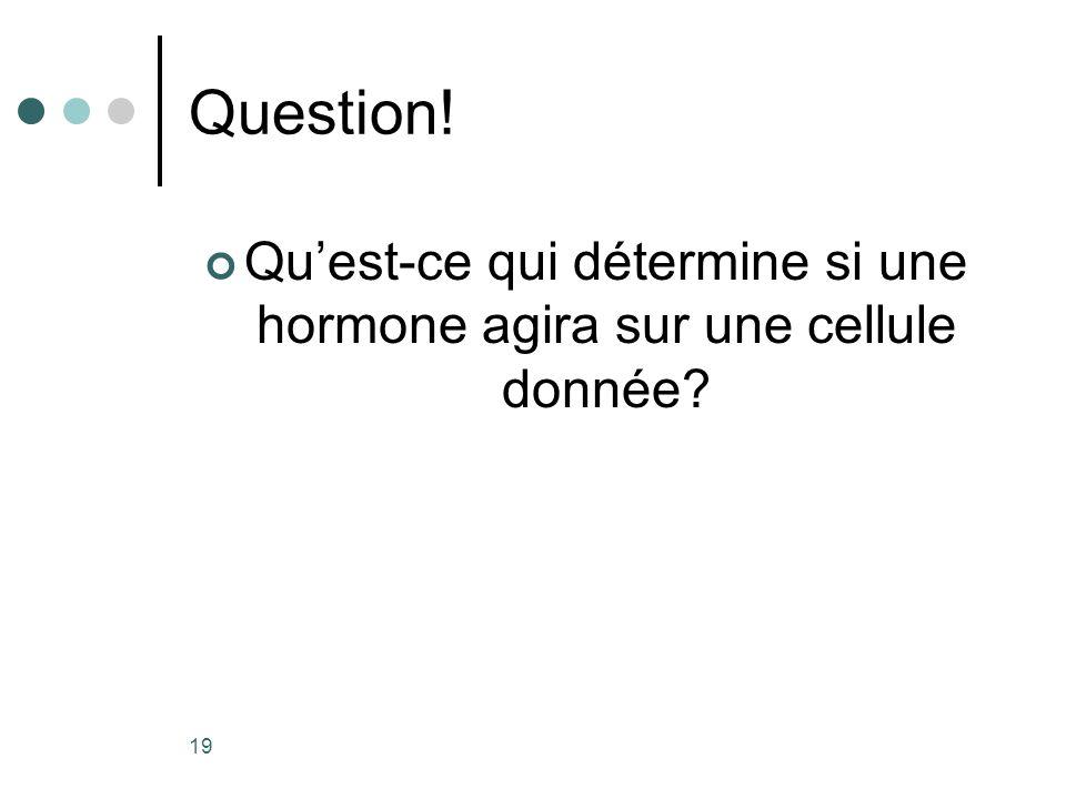 Question! Quest-ce qui détermine si une hormone agira sur une cellule donnée? 19