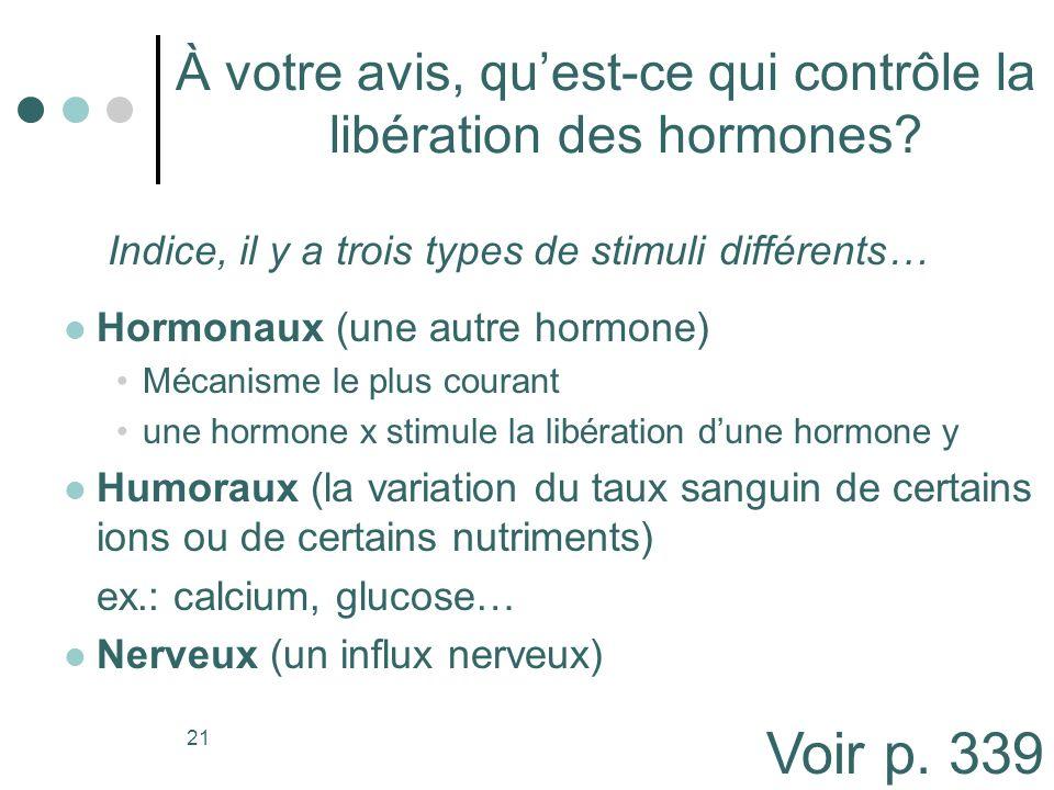 21 À votre avis, quest-ce qui contrôle la libération des hormones? Hormonaux (une autre hormone) Mécanisme le plus courant une hormone x stimule la li