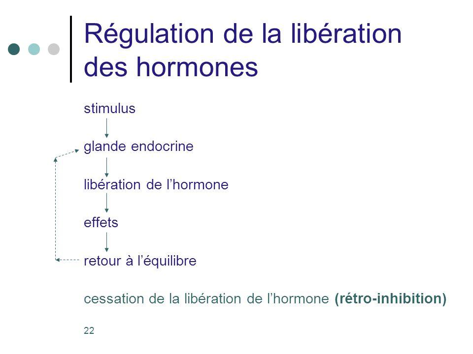 22 Régulation de la libération des hormones stimulus glande endocrine libération de lhormone effets retour à léquilibre cessation de la libération de