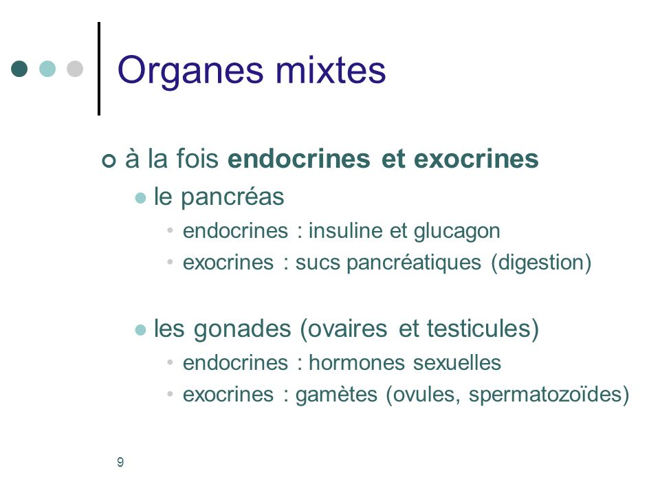 9 Organes mixtes à la fois endocrines et exocrines le pancréas endocrines : insuline et glucagon exocrines : sucs pancréatiques (digestion) les gonade